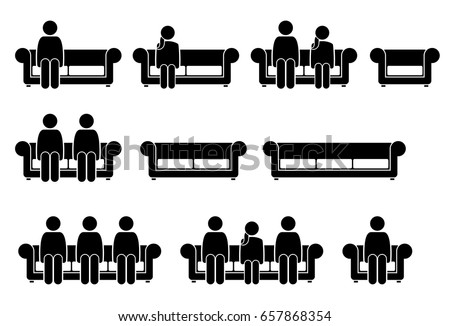 People Sitting on Chair Sofa  Pictogram depicts man and woman sitting on  couch. Sitting Stock Images  Royalty Free Images   Vectors   Shutterstock