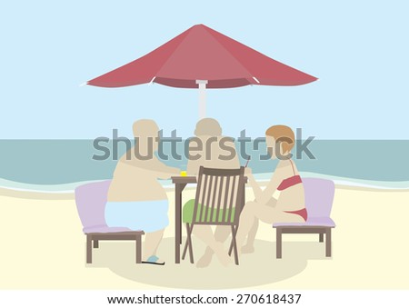 People sitting on sunbeds under parasol drinking and chatting. Seems like a slow afternoon on a hot beach.