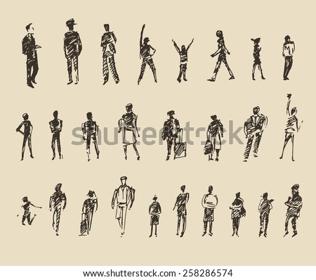 People sketch, vector Illustration, hand drawing - stock vector