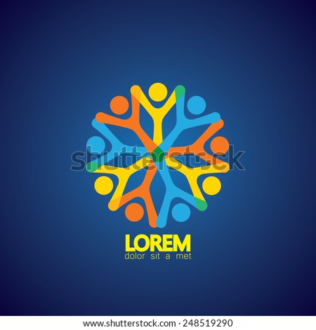 people social network as circle, team & teamwork vector icon. this also represents internet community group, creative concept, people holding hands, togetherness, bonding, close relationships - stock vector