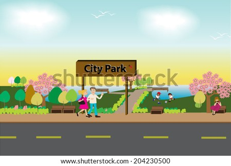 People spend time at city park in wonderful weather - stock vector