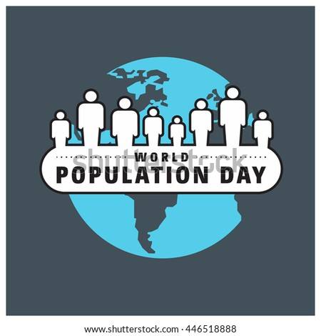People stack around the globe world population day 11th july blue background