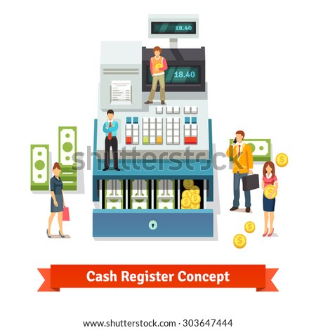 People standing and holding coins near an opened cash register with printed receipt, paper money stacks and coins inside the box. Flat style vector illustration concept isolated on white background. - stock vector
