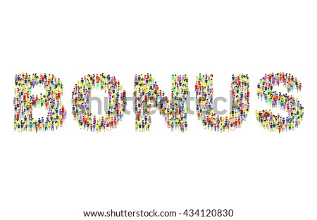 People standing as BONUS inscription flat isometric 3d vector illustration. Letter concept idea. Creative people collection. - stock vector