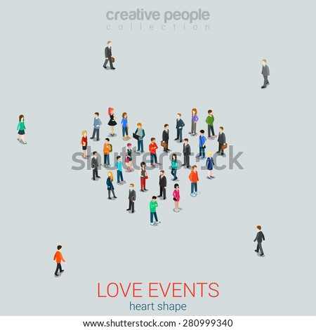 People standing as Heart shape flat isometric 3d style vector illustration. Love concept idea. Creative people collection. - stock vector