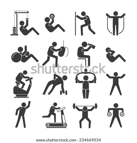people stretching and exercise set, fitness icons set - stock vector