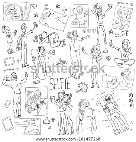 People taking a selfie. Cartoon funny doodles. - stock vector