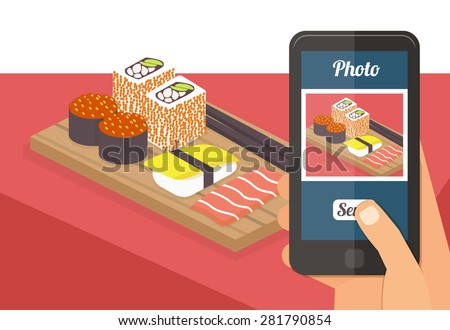 People taking picture photo of their food in restaurant with smartphone, selfie shot flat vector illustration - stock vector