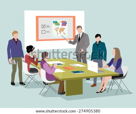People talking and working at the computers in office. Staff around table working with laptop tablet. Office meeting room. 3d isometric business people - stock vector