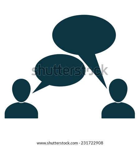 People talking symbols isolated on white background. Communication  icon or sign with speech bubbles and space for text. Infographic element. - stock vector