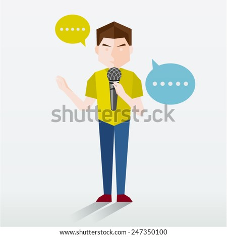 People Talking Using Microphone Vector Illustration - stock vector