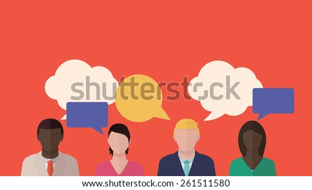 People talking vector illustration. Exchange of information concept. - stock vector
