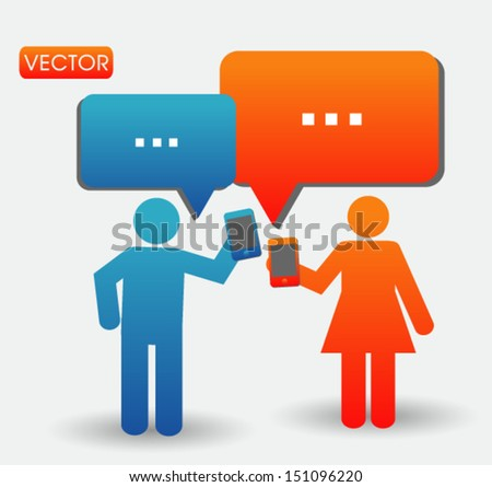 people talking with smartphone concept - stock vector