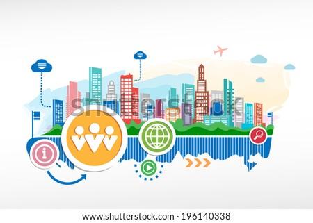 People team and cityscape background with different icon and elements. Design for the print, advertising. - stock vector