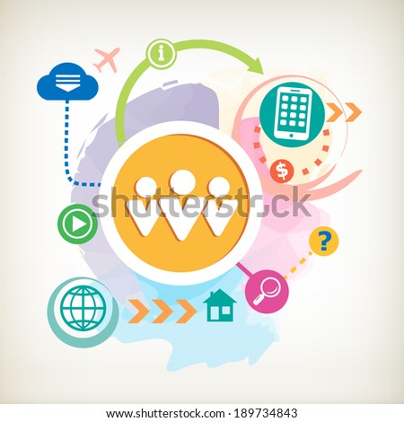 People team and mobile phone on abstract watercolor background with different icon and elements.