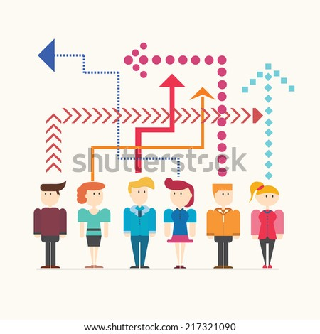 People Thinking,vector,illustration. - stock vector