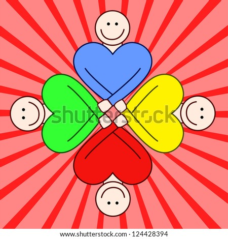 People togetherness - bright colors. - stock vector