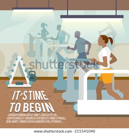 People training on treadmills in gymnasium fitness lifestyle time to begin poster vector illustration - stock vector