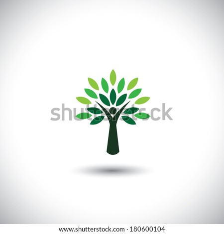 people tree icon with green leaves - eco concept vector. This graphic also represents environmental protection, nature conservation, eco friendly, renewable, sustainability, nature loving - stock vector