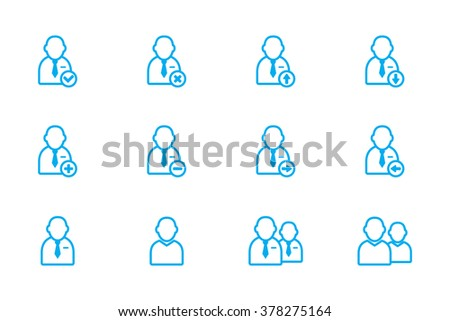 people, users icon line - stock vector