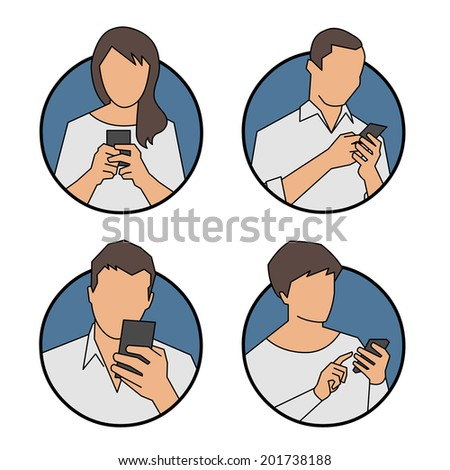 People using, looking at smart phone