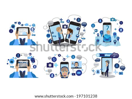 People Using Mobile And Tablet, Concept Of Communication - Set - Isolated On White Background - Vector Illustration, Graphic Design Editable For Your Design   - stock vector