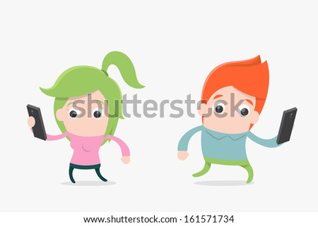 people using mobile phone , vector - stock vector