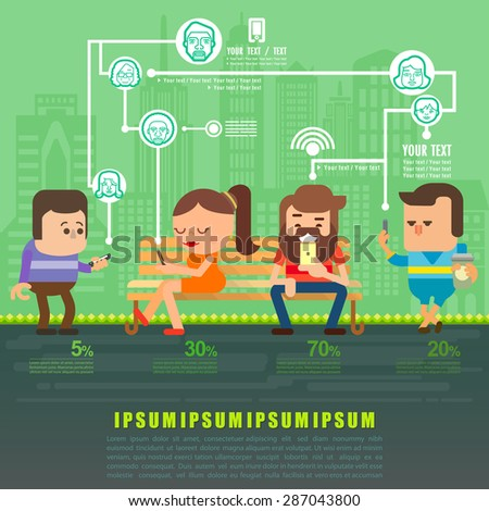 People using smartphone in social network connect on city town background flat design, Flat icons Vector illustration. - stock vector