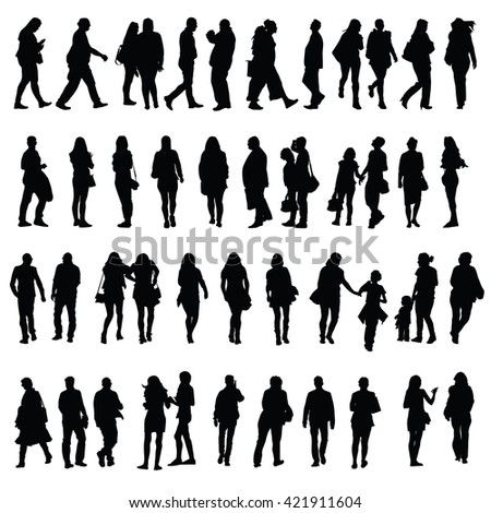 people vector silhouette illustration in black color - stock vector