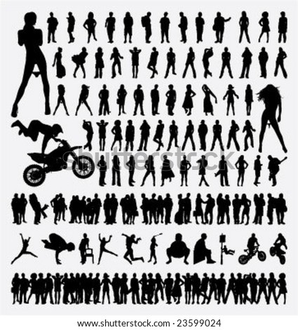 people vector silhouettes with many action - stock vector
