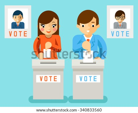 People vote candidates of different parties. Election voting, ballot and politics, choice democracy, vector illustration - stock vector