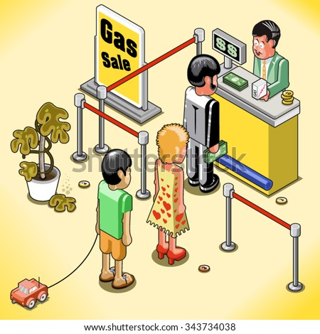 People waiting in line to buy a small amount of expensive gas at a counter (isometric illustration) - stock vector