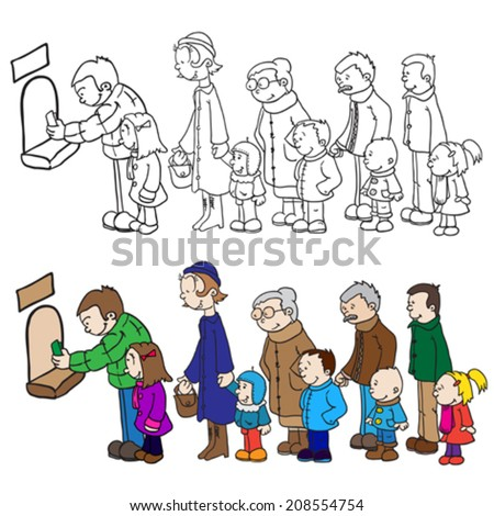 people waiting in line to buy tickets - stock vector