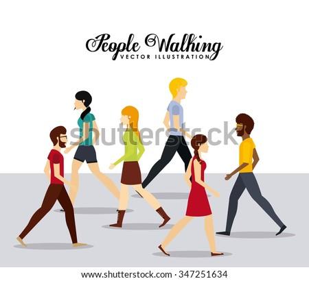 people walking design, vector illustration eps10 graphic  - stock vector