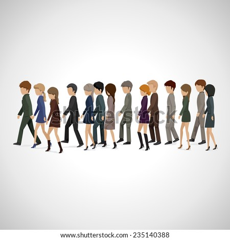 People Walking In Line - Isolated On Gray Background - Vector Illustration, Graphic Design Editable For Your Design