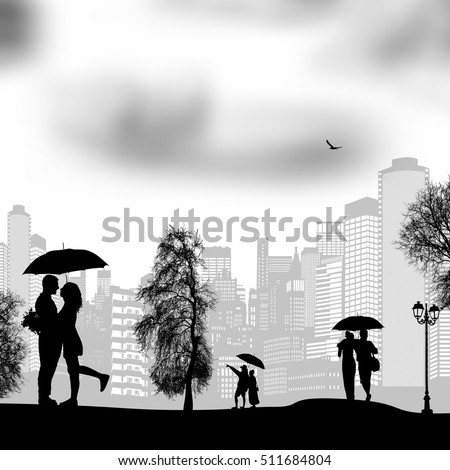 People walking in rain with umbrellas on city park, vector illustration