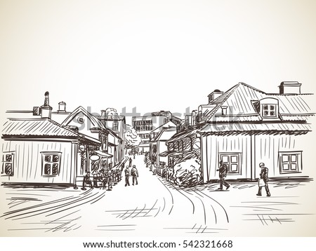 People walking on cozy town street, Vector sketch, Hand drawn illustration