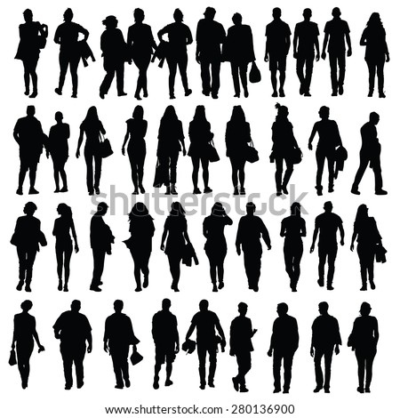people walking silhouette vector black on white - stock vector