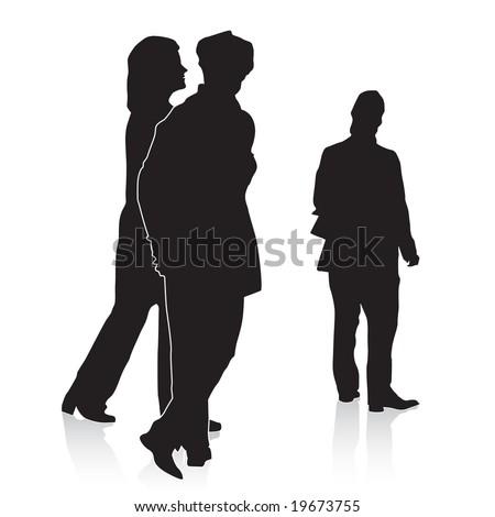 People Walking, Watching. Vector. - stock vector