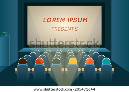 People watching film in cinema. Movie and screen, seat audience, show and concert, auditorium presentation, row and entertainment, vector illustration - stock vector