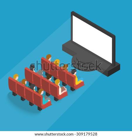 People watching movie in cinema theater, isometric concept. Cinema auditorium interior with audience, blank screen and seats, vector illustration - stock vector