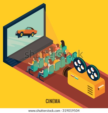People watching movie in cinema theater. Isometric 3d vector illustrations - stock vector