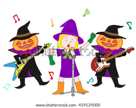 People who disguise itself by Halloween, and enjoy music. - stock vector