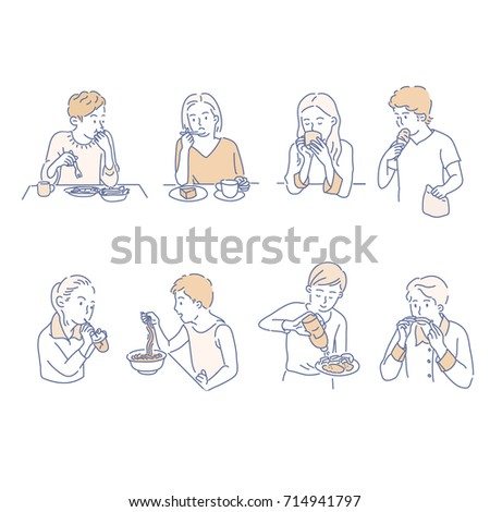 People who eat food vector illustration flat design