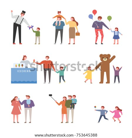 People who went to the theme park to play. vector illustration flat design