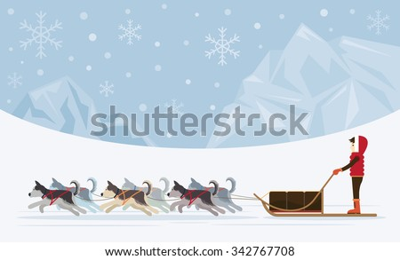 People with Arctic Dogs Sledding, Iceberg Background, Winter, Nature Travel and Adventure - stock vector