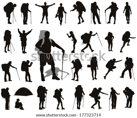 People with backpack vector silhouettes set. EPS 8 - stock vector