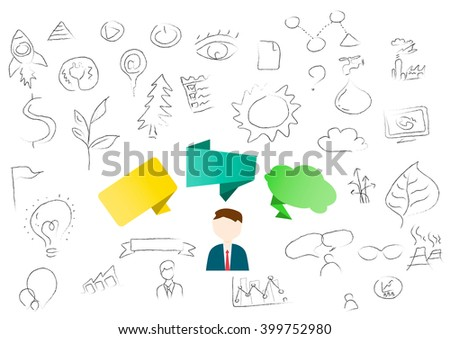 People with blank speech balloon on business background (Vector EPS10) - stock vector
