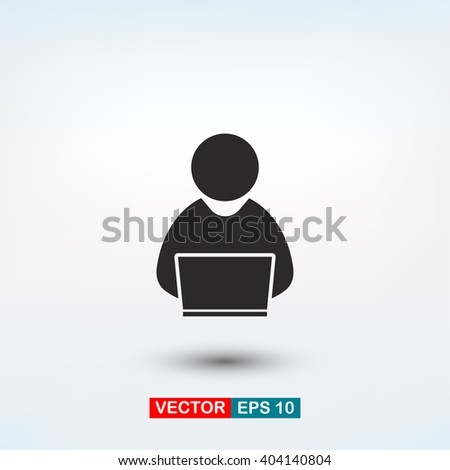 people with computer, person with laptop  icon. One of set web i - stock vector