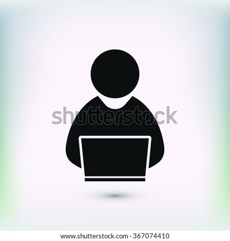 people with computer, person with laptop  icon. One of set web icons